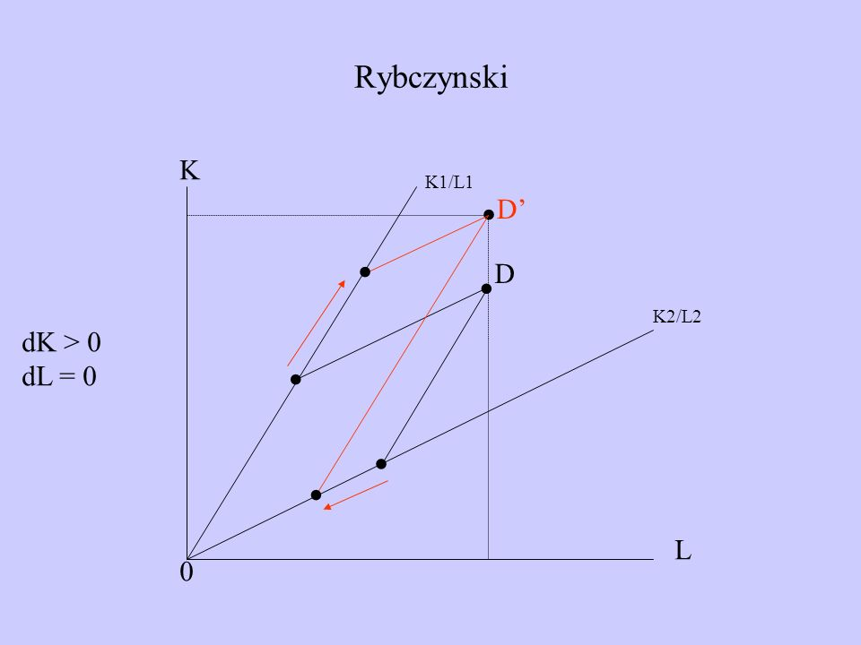 Rybczynski . K K1/L1 . D' . D . K2/L2 dK > 0 dL = 0 . . L