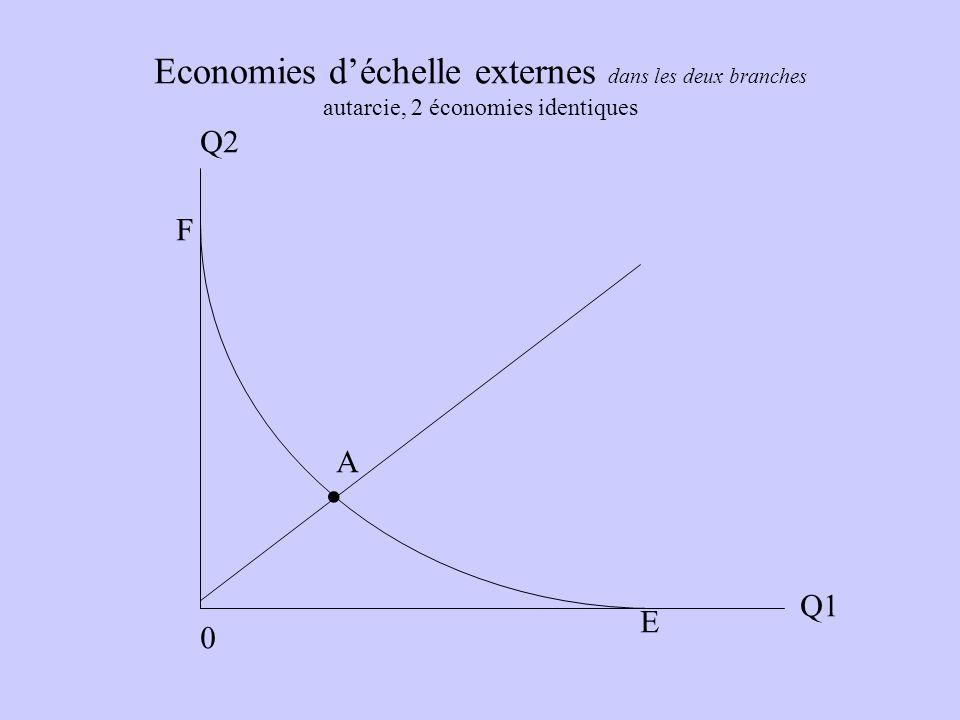 Economies d'échelle externes dans les deux branches autarcie, 2 économies identiques