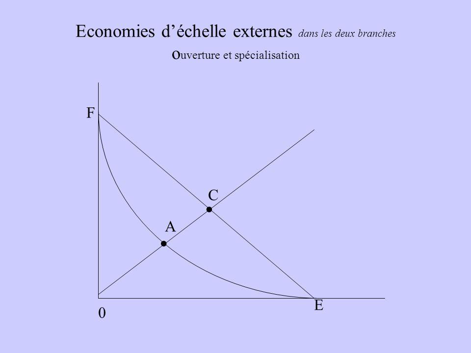 Economies d'échelle externes dans les deux branches ouverture et spécialisation