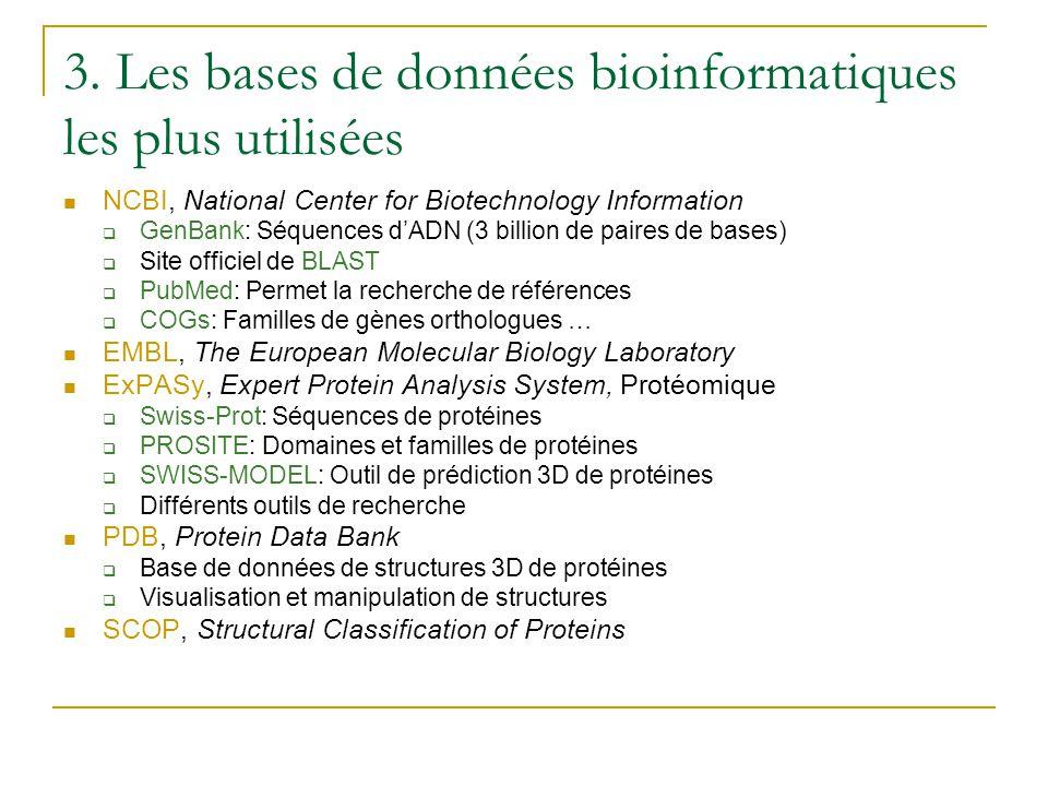 3. Les bases de données bioinformatiques les plus utilisées