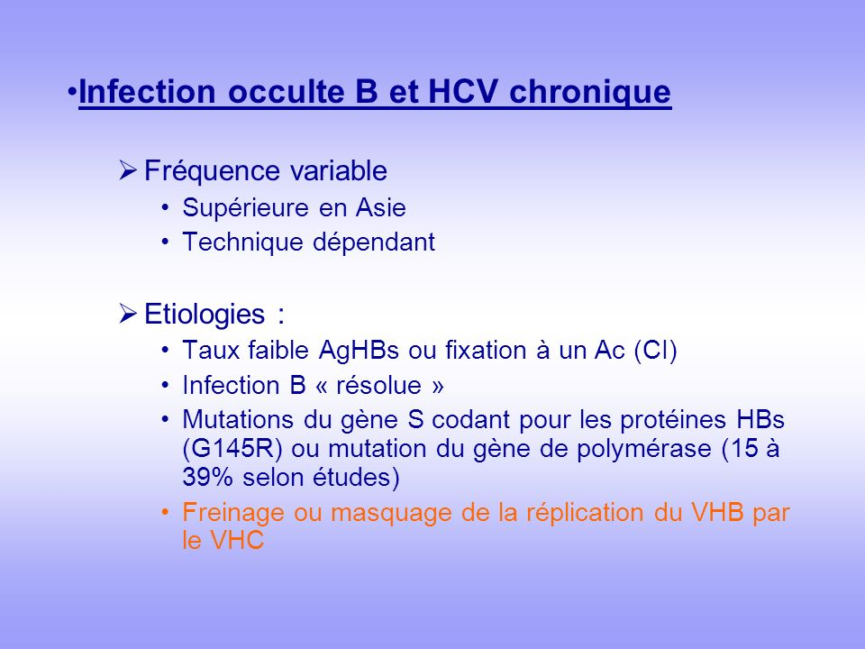 Infection occulte B et HCV chronique