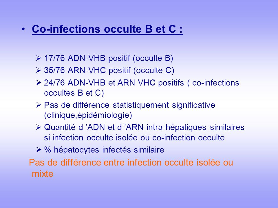Co-infections occulte B et C :