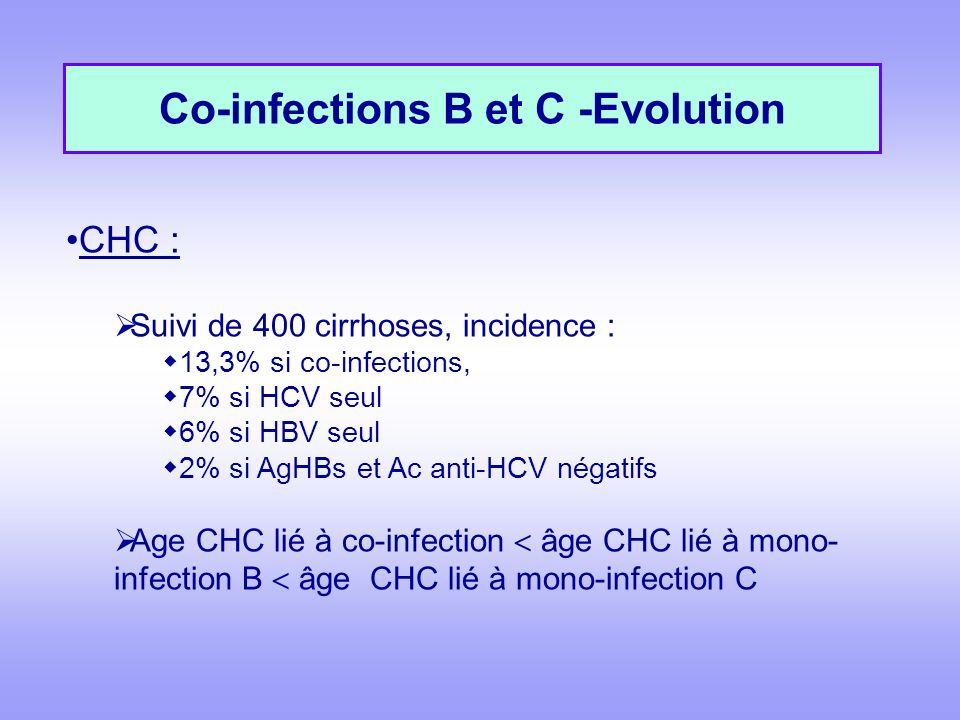 Co-infections B et C -Evolution