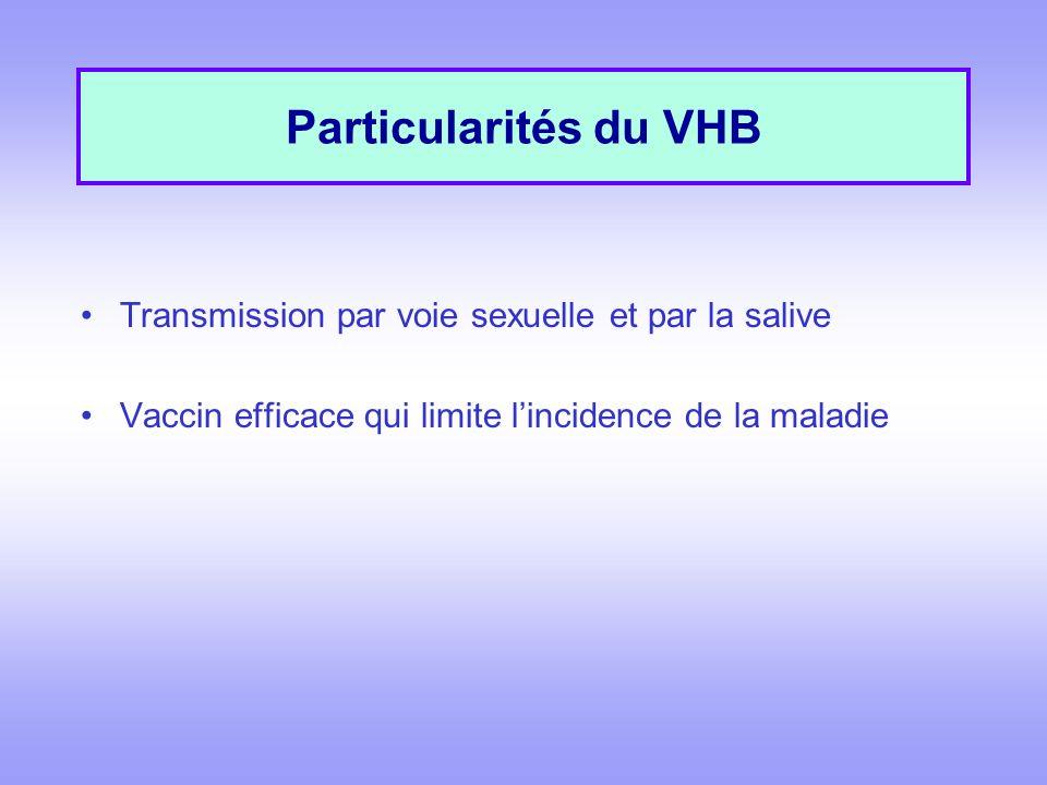Particularités du VHB Transmission par voie sexuelle et par la salive