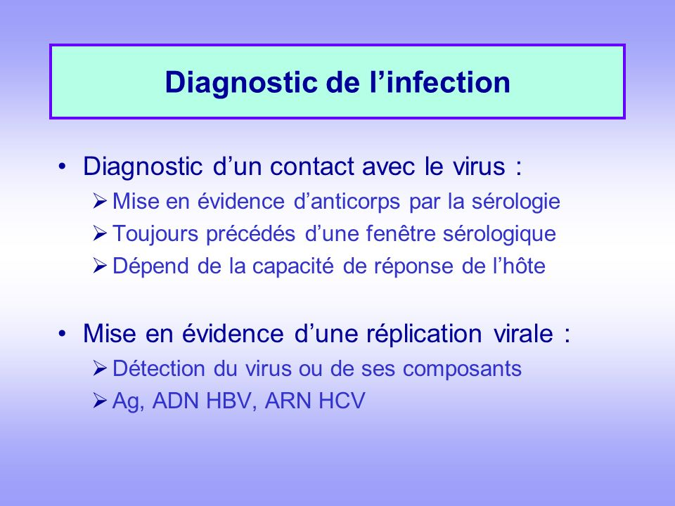 Diagnostic de l'infection