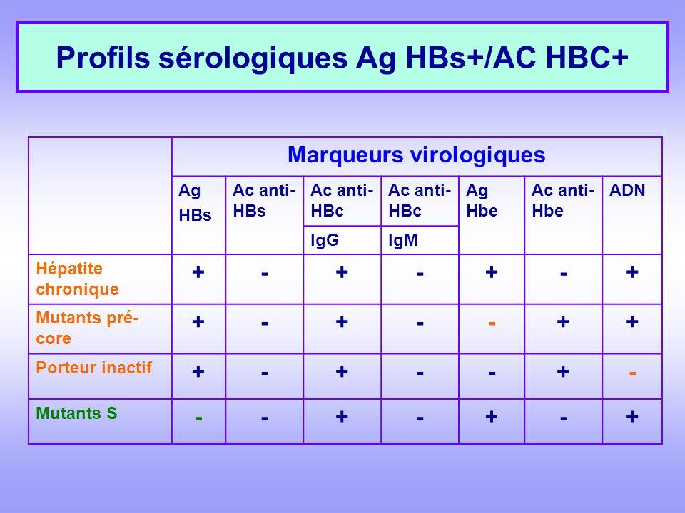 Profils sérologiques Ag HBs+/AC HBC+