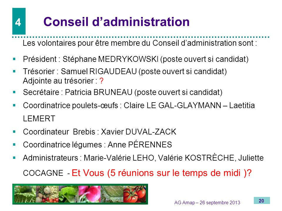4 Conseil d'administration