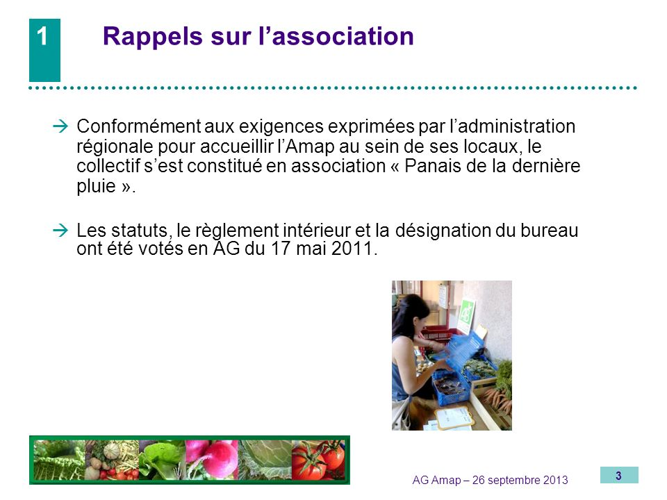 1 Rappels sur l'association