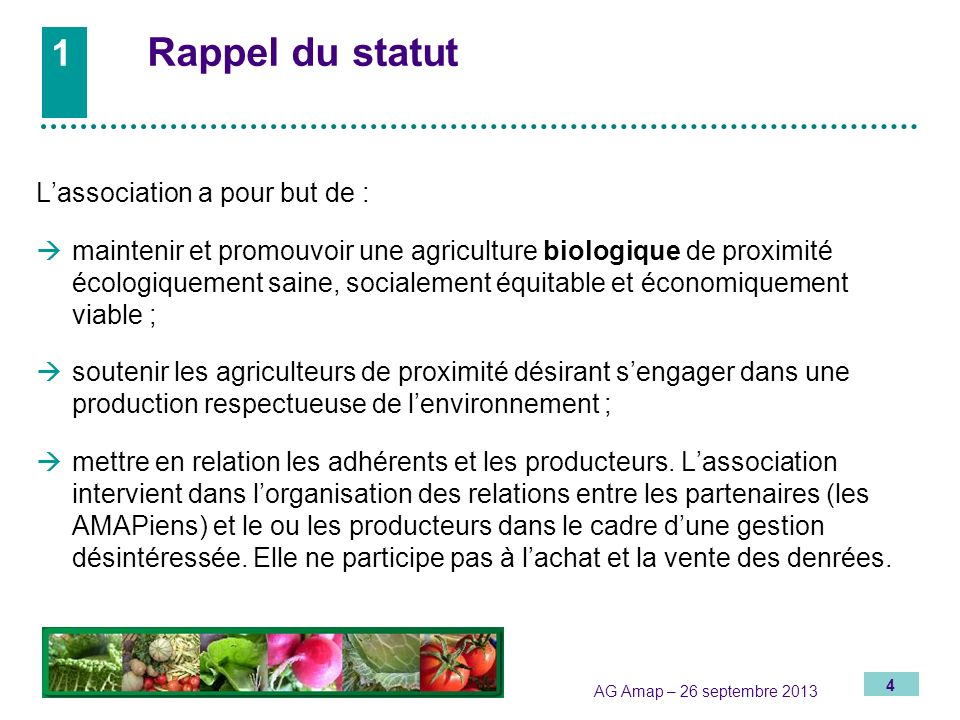 1 Rappel du statut L'association a pour but de :