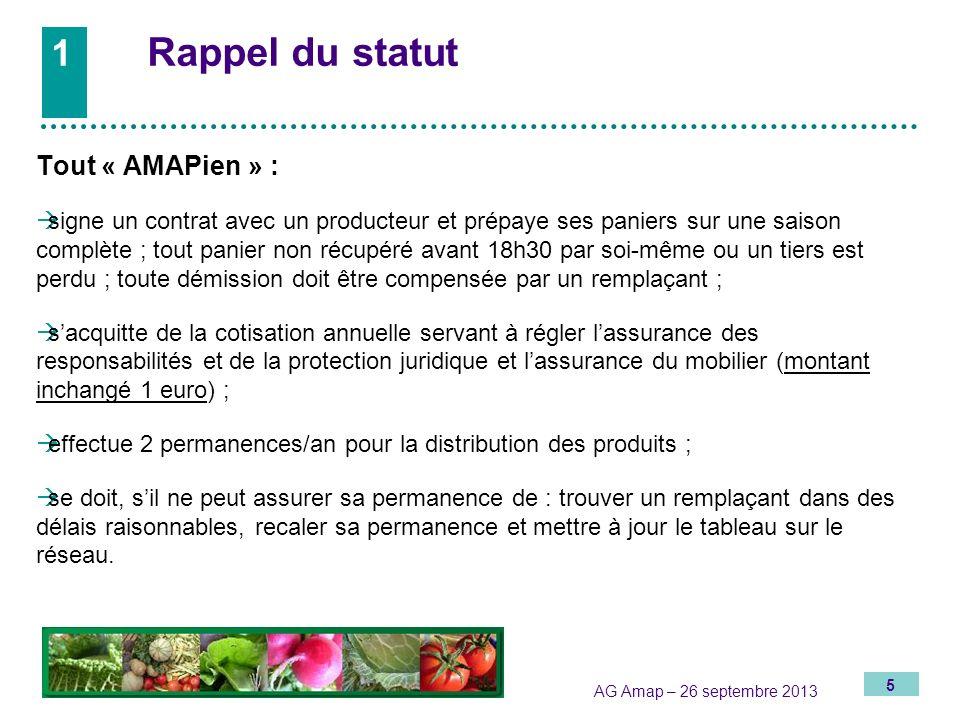 1 Rappel du statut Tout « AMAPien » :