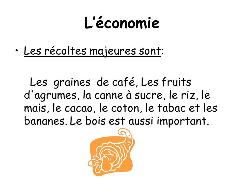 L'économie Les récoltes majeures sont: