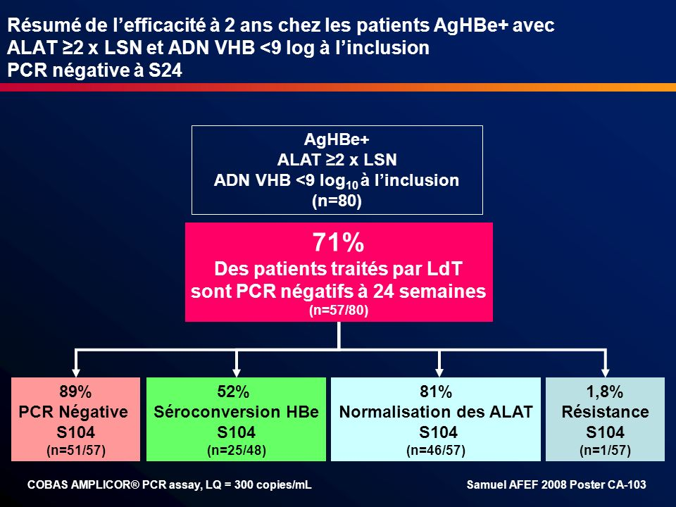 Résumé de l'efficacité à 2 ans chez les patients AgHBe+ avec ALAT ≥2 x LSN et ADN VHB <9 log à l'inclusion PCR négative à S24