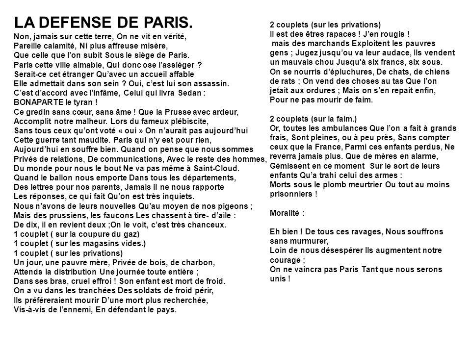 LA DEFENSE DE PARIS. Non, jamais sur cette terre, On ne vit en vérité,