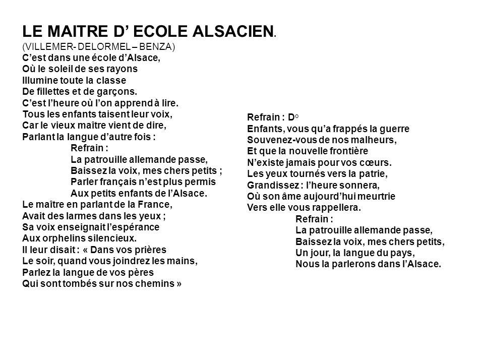 LE MAITRE D' ECOLE ALSACIEN.