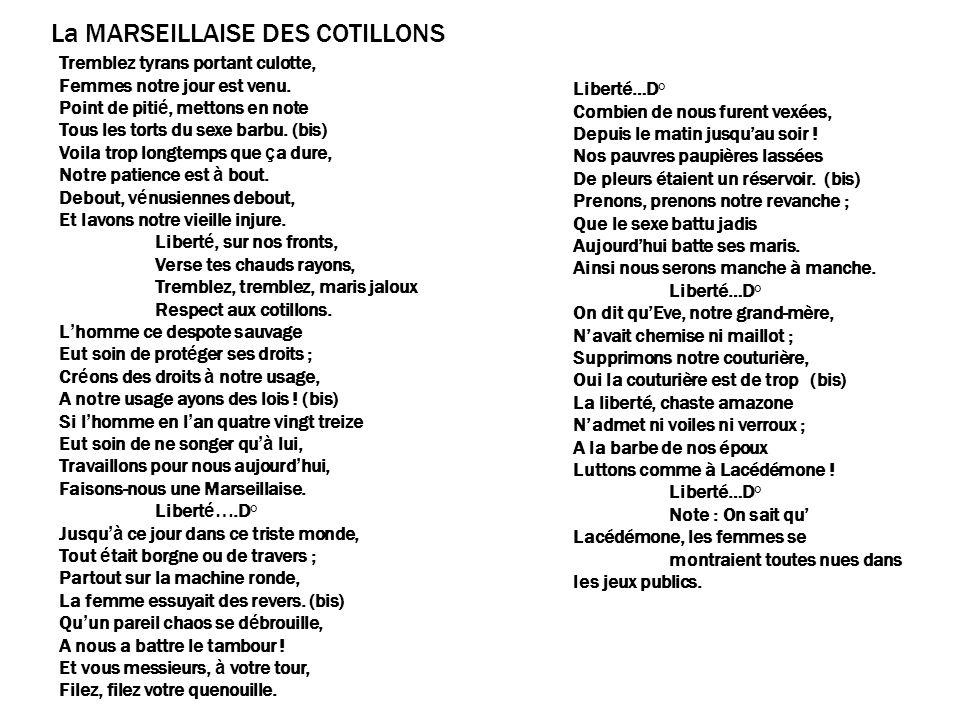 La MARSEILLAISE DES COTILLONS
