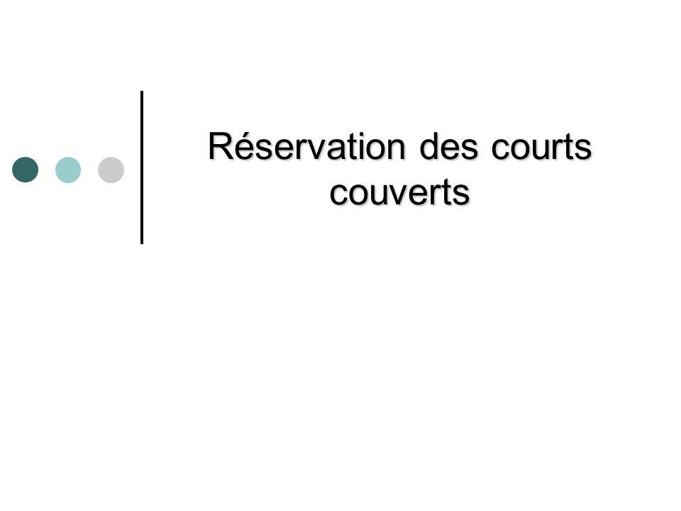 Réservation des courts couverts