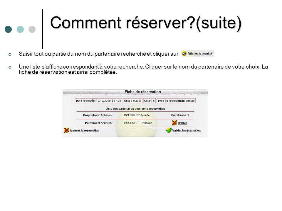 Comment réserver (suite)