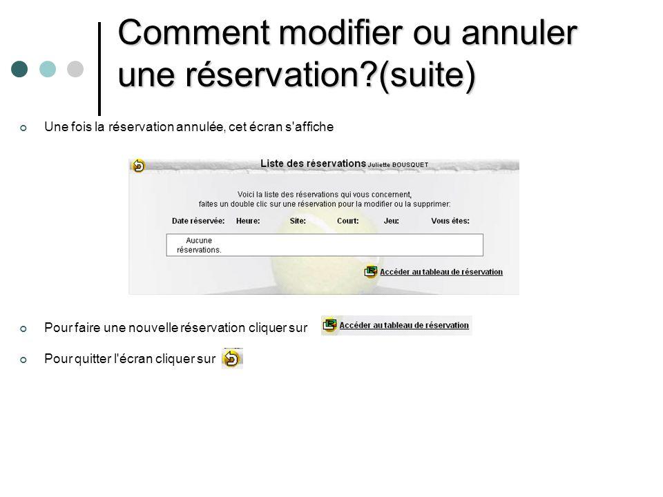 Comment modifier ou annuler une réservation (suite)