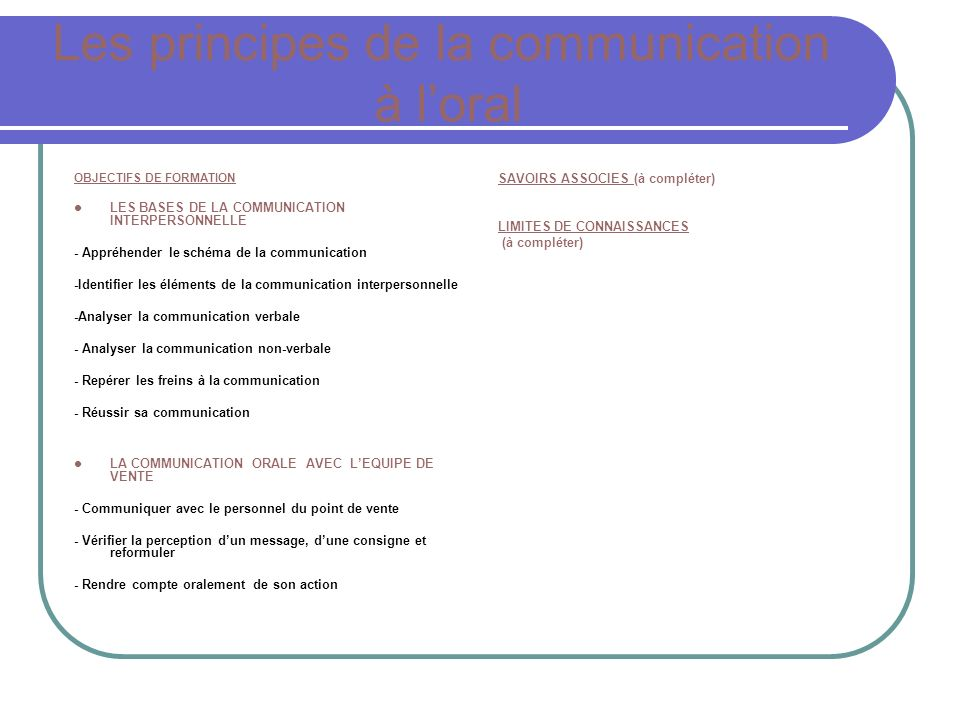 Les principes de la communication à l'oral