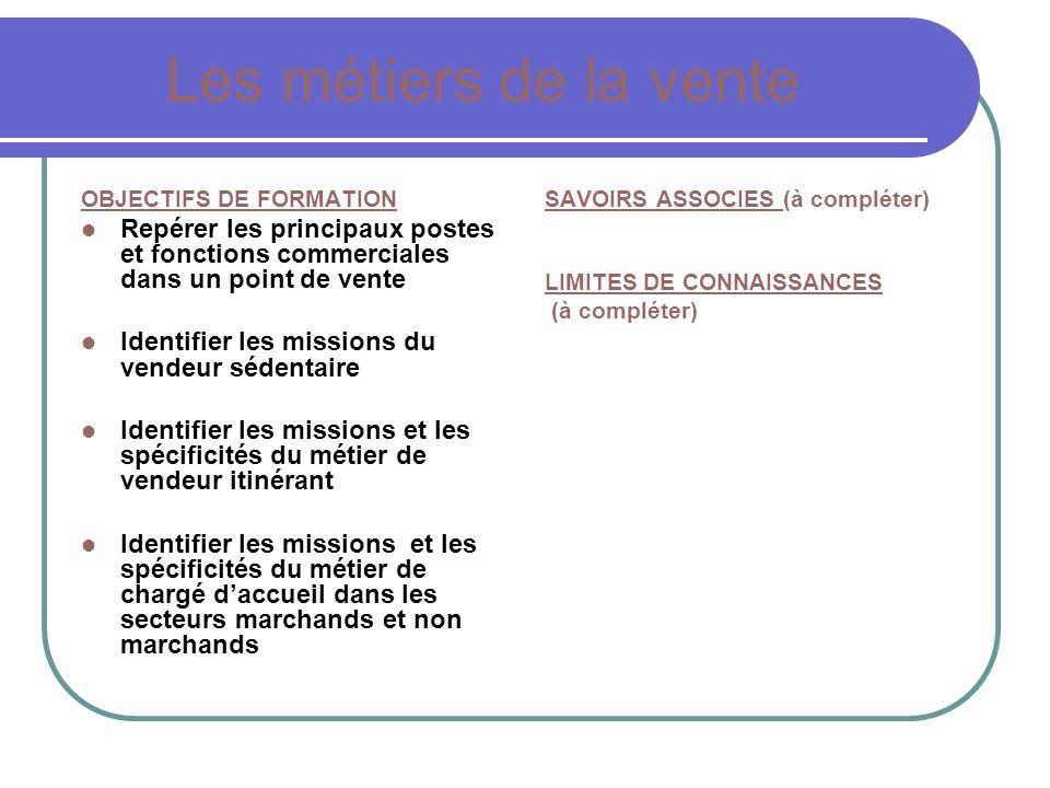 Les métiers de la vente OBJECTIFS DE FORMATION. Repérer les principaux postes et fonctions commerciales dans un point de vente.