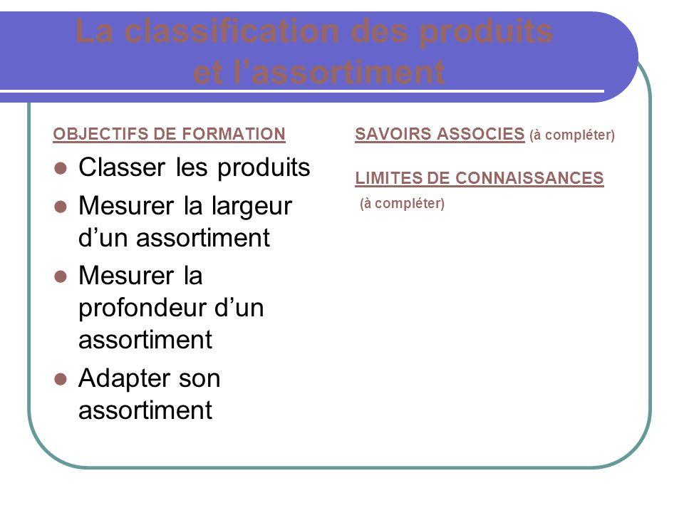 La classification des produits et l'assortiment