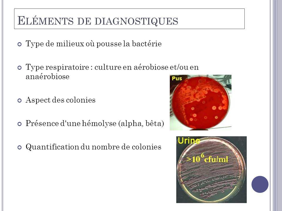 Eléments de diagnostiques