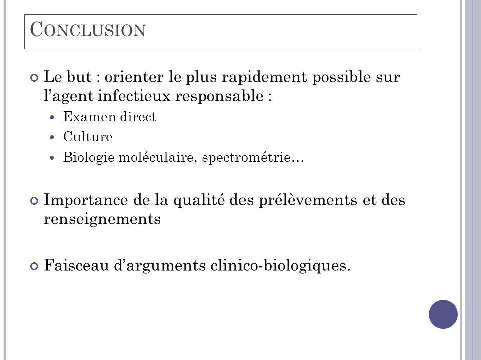 Conclusion Le but : orienter le plus rapidement possible sur l'agent infectieux responsable : Examen direct.