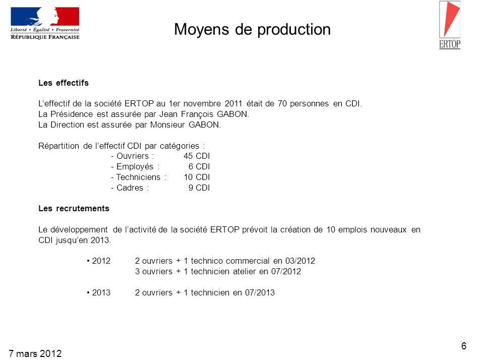 Moyens de production 7 mars 2012 Les effectifs