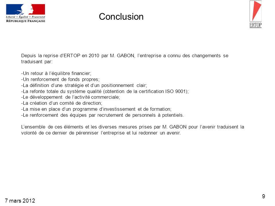 Conclusion Depuis la reprise d'ERTOP en 2010 par M. GABON, l'entreprise a connu des changements se traduisant par: