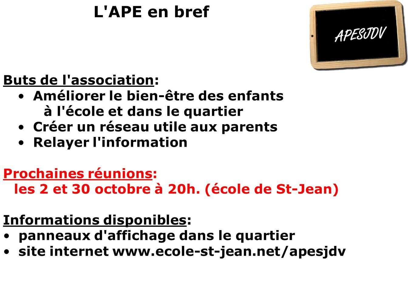 L APE en bref Buts de l association:
