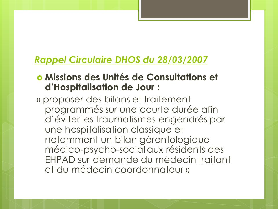 Rappel Circulaire DHOS du 28/03/2007
