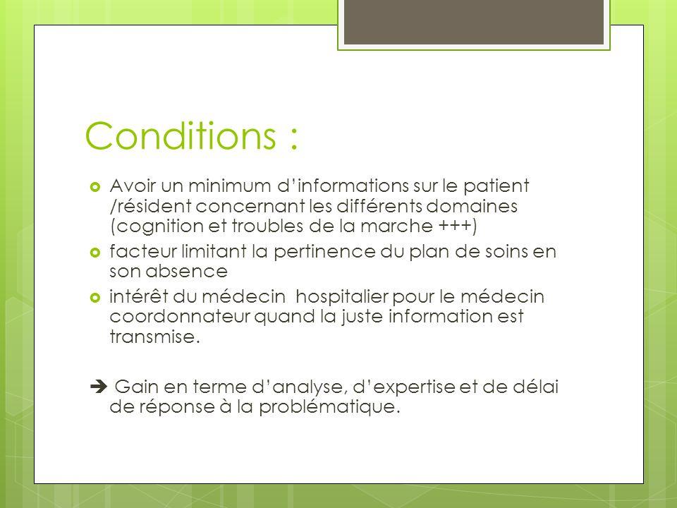 Conditions : Avoir un minimum d'informations sur le patient /résident concernant les différents domaines (cognition et troubles de la marche +++)