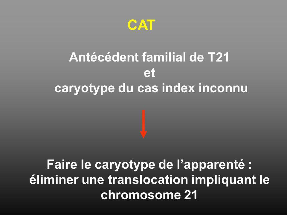 CAT Antécédent familial de T21 et caryotype du cas index inconnu