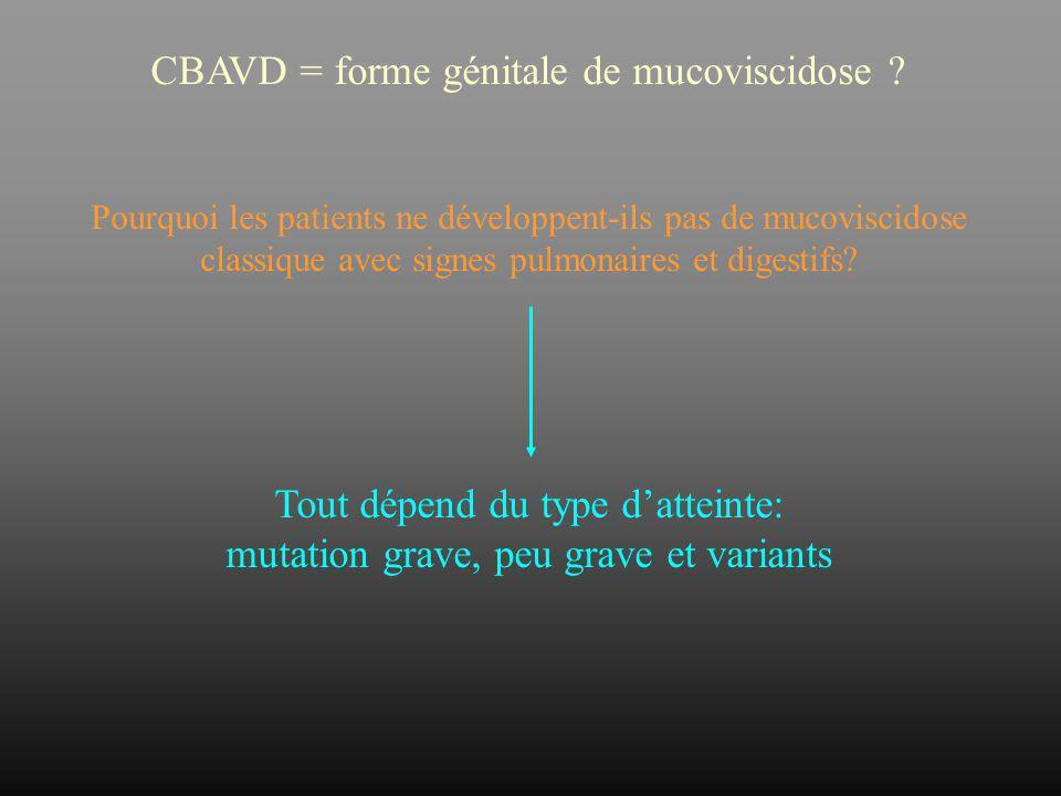 CBAVD = forme génitale de mucoviscidose