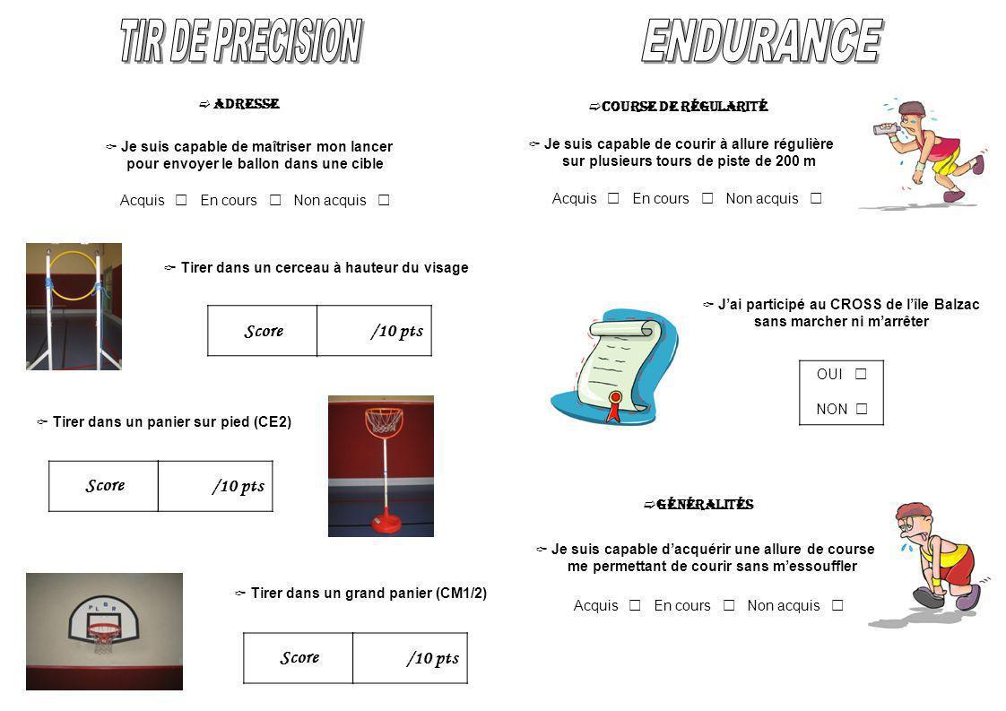TIR DE PRECISION ENDURANCE Score /10 pts Score /10 pts Score /10 pts
