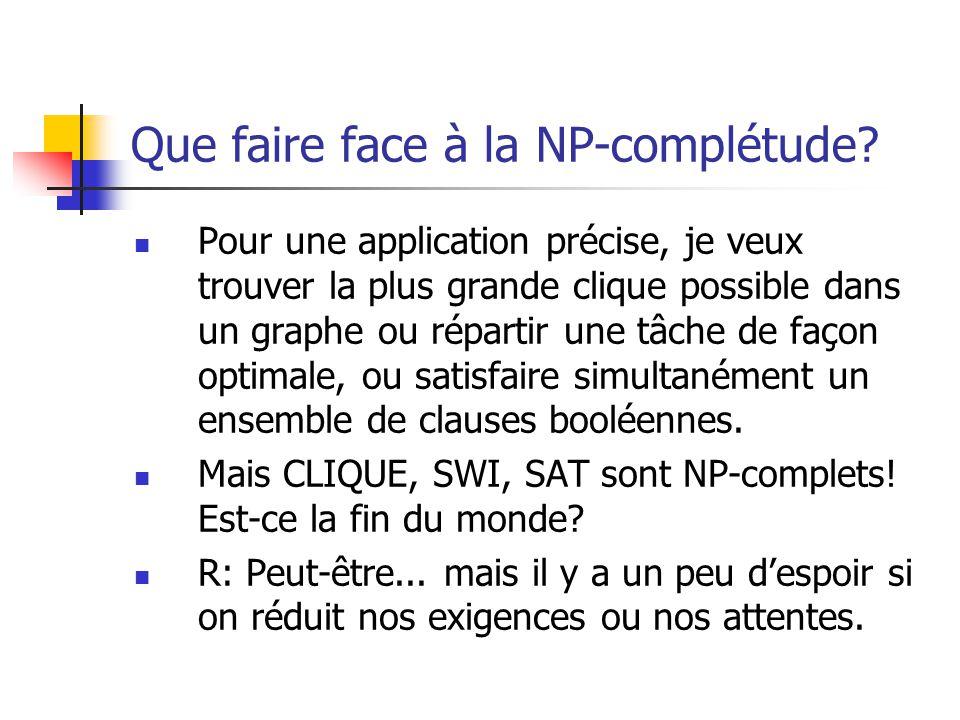 Que faire face à la NP-complétude