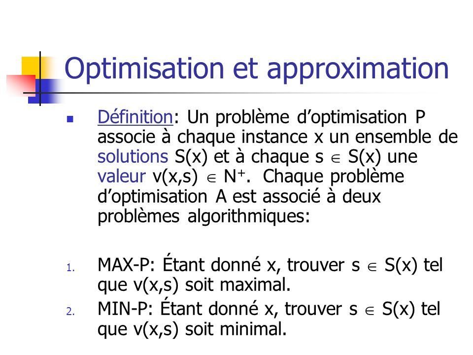 Optimisation et approximation