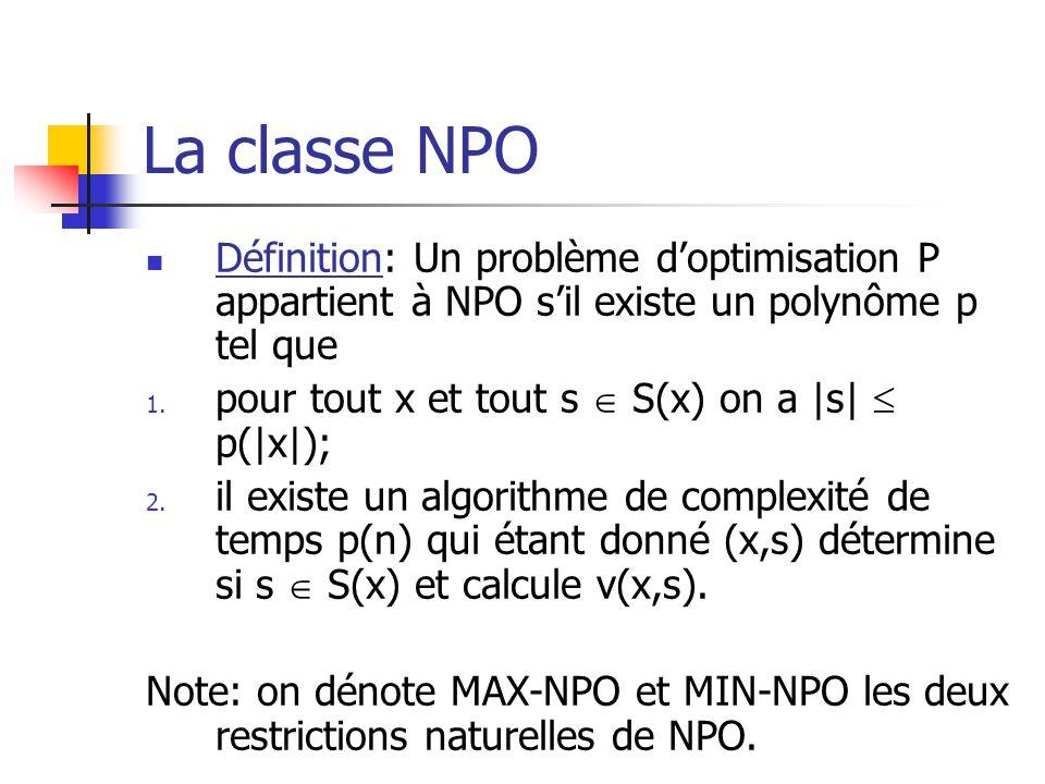 La classe NPO Définition: Un problème d'optimisation P appartient à NPO s'il existe un polynôme p tel que.