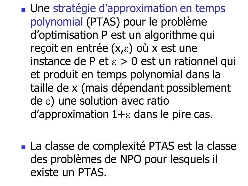 Une stratégie d'approximation en temps polynomial (PTAS) pour le problème d'optimisation P est un algorithme qui reçoit en entrée (x,) où x est une instance de P et  > 0 est un rationnel qui et produit en temps polynomial dans la taille de x (mais dépendant possiblement de ) une solution avec ratio d'approximation 1+ dans le pire cas.