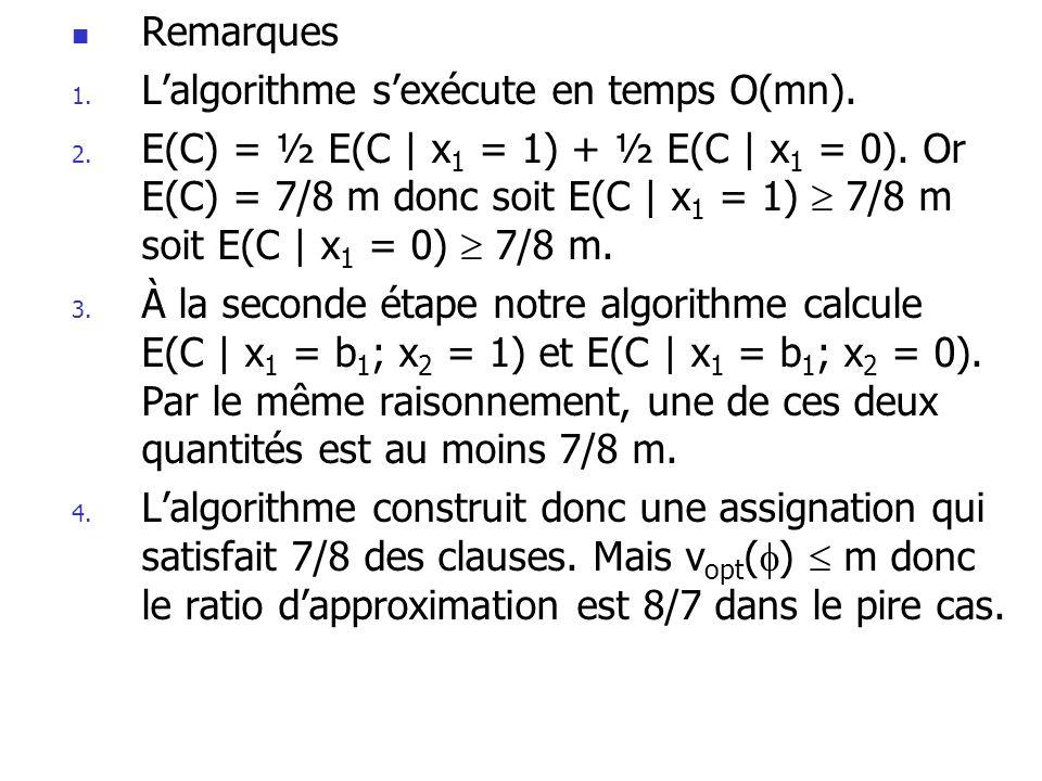 Remarques L'algorithme s'exécute en temps O(mn).