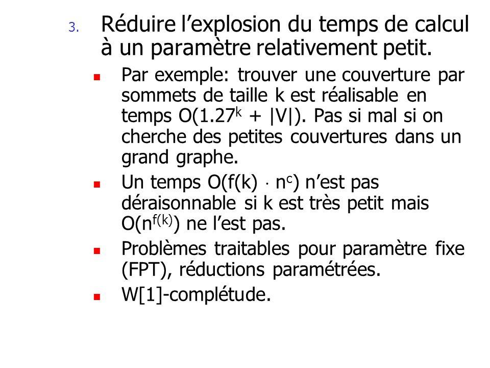 Réduire l'explosion du temps de calcul à un paramètre relativement petit.