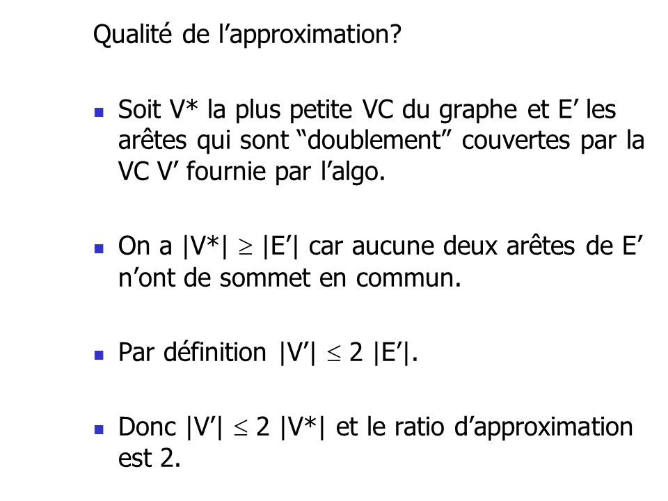 Qualité de l'approximation