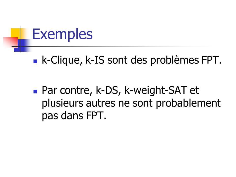 Exemples k-Clique, k-IS sont des problèmes FPT.