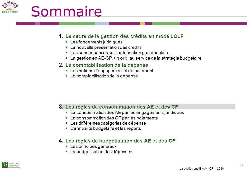 Sommaire Le cadre de la gestion des crédits en mode LOLF