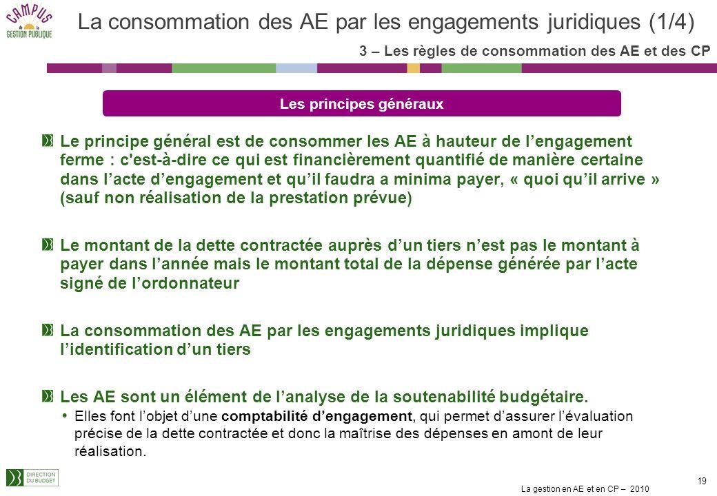 La consommation des AE par les engagements juridiques (1/4)