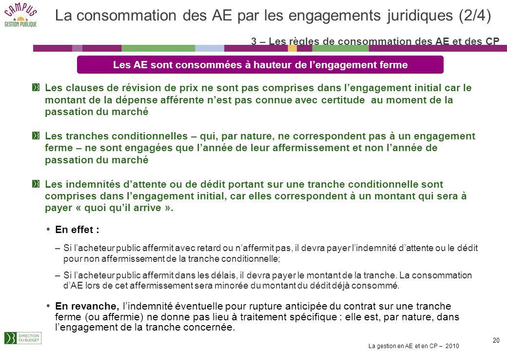 La consommation des AE par les engagements juridiques (2/4)