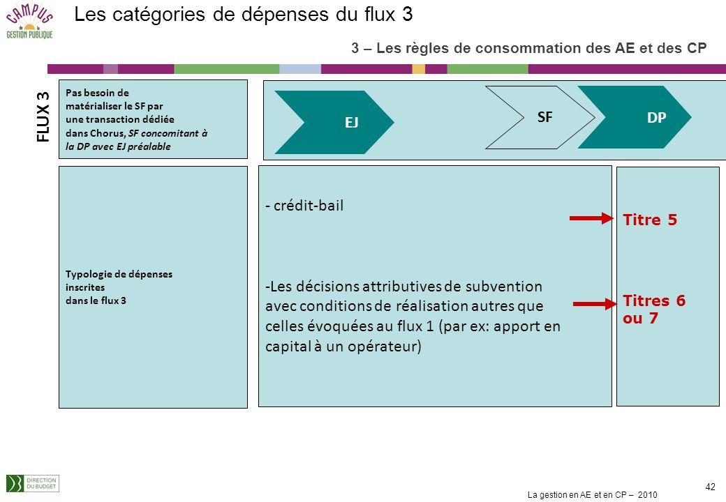 Les catégories de dépenses du flux 3