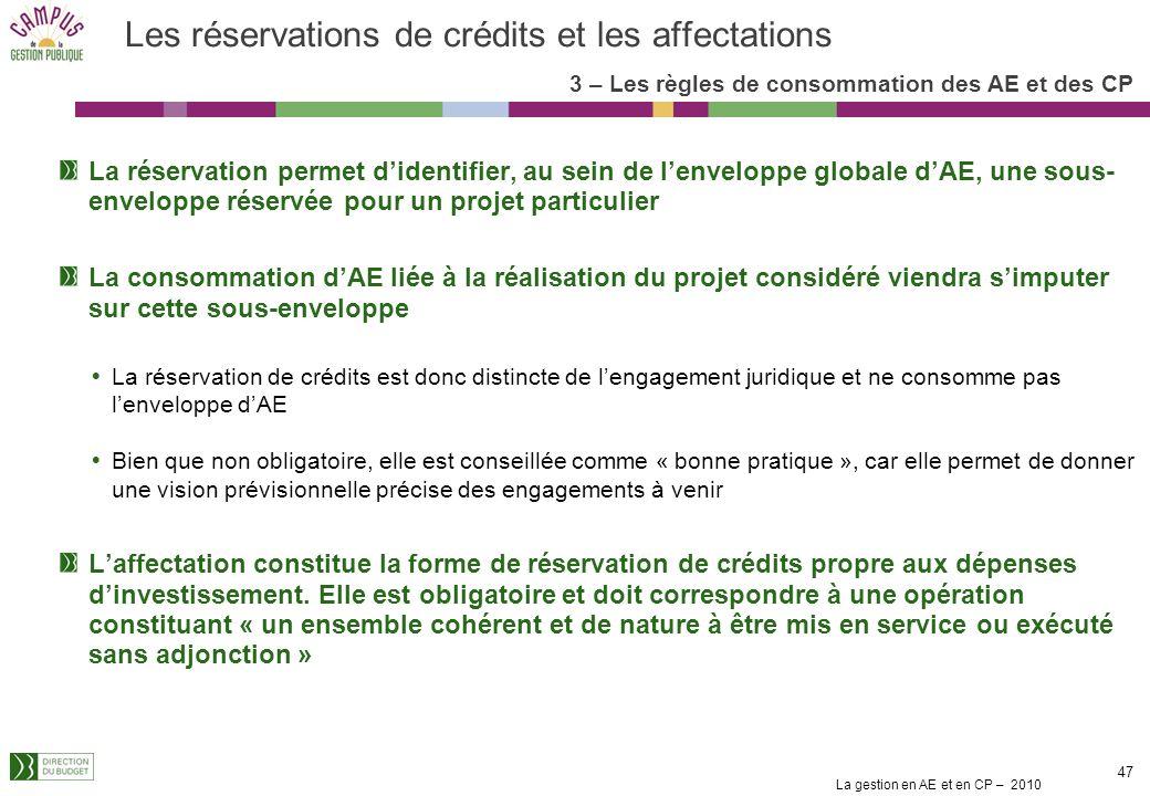 Les réservations de crédits et les affectations