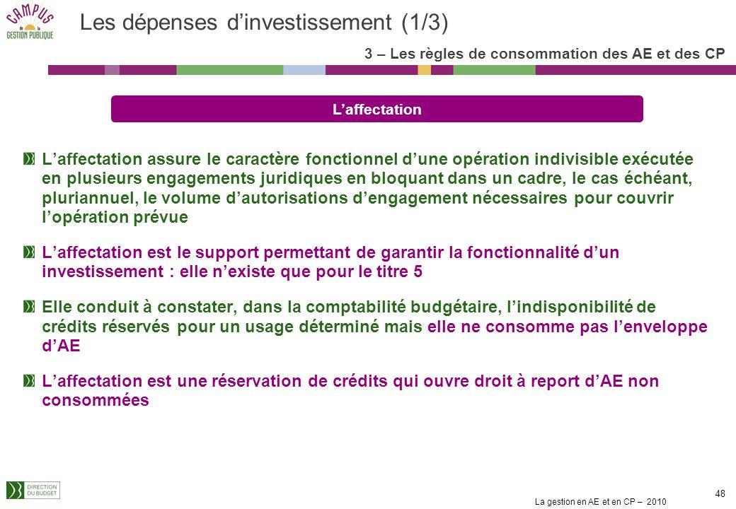 Les dépenses d'investissement (1/3)