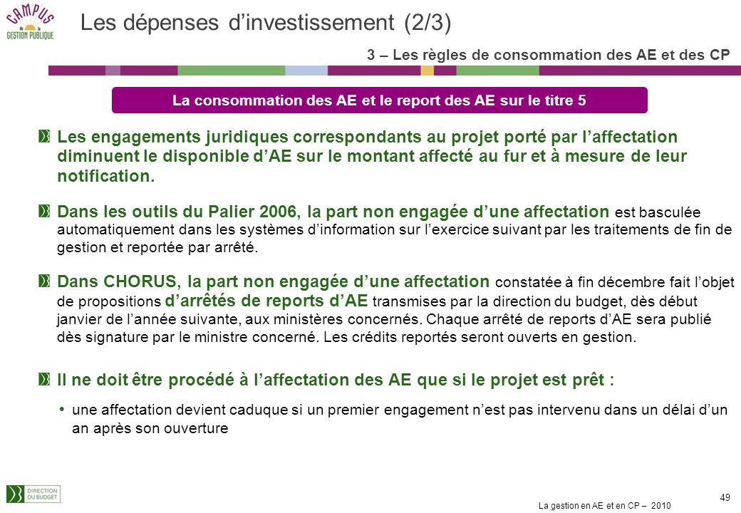 Les dépenses d'investissement (2/3)